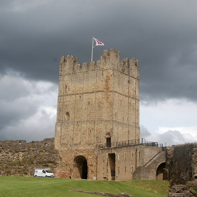 Norman keep of Richmond Castle under stormy skies