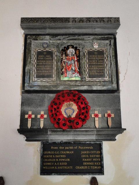 Woodbastwick War Memorial including Panxworth