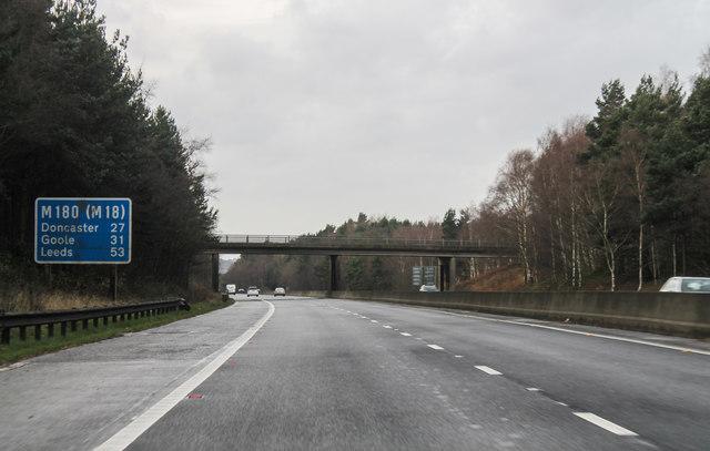 M180, approaching Kirton Road bridge