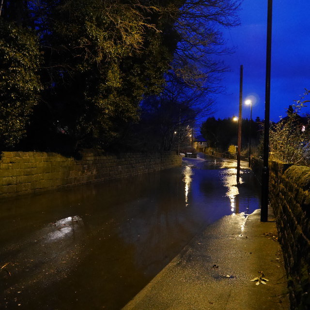 Flood in Outwood Lane, Horsforth, Boxing Day 2015 (1)