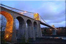 SH5571 : Menai Suspension Bridge at dusk by Oliver Mills