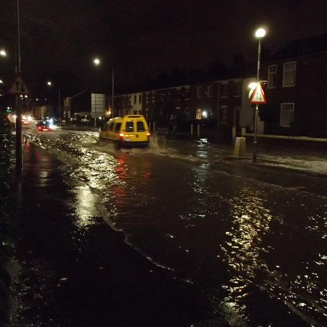 Flooding of the A6 in Walton-le-Dale