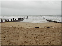 SZ1191 : Boscombe: groynes old and new by Chris Downer