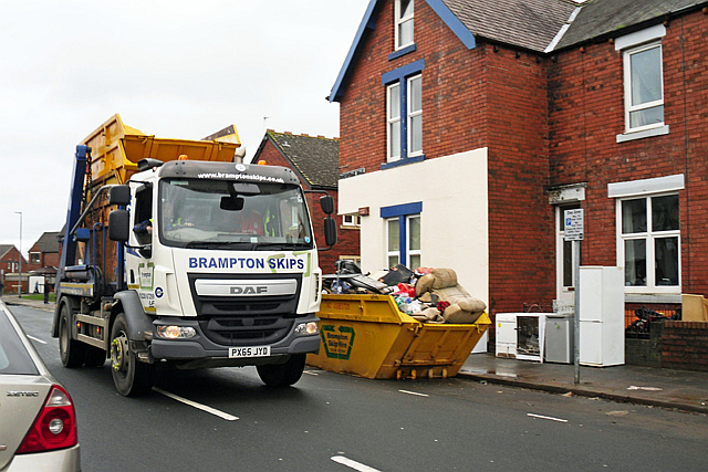 Skip wagon in Greystone Road