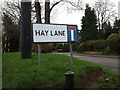 TL1314 : Hay Lane sign by Adrian Cable