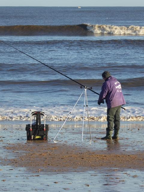 Sea angler on Whitley Sands