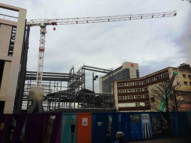 New cinema and shops under construction on the Moor