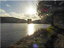 SK1789 : Sunshine over the Derwent Dam tower by Steve  Fareham