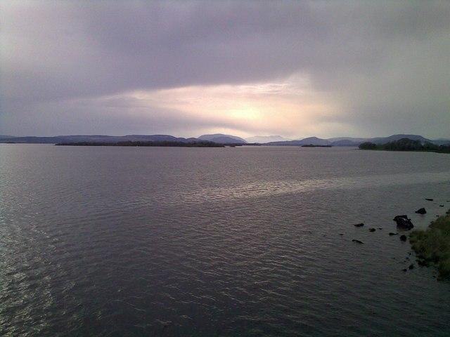View across Lough Corrib from window of Ballycurrin Lighthouse
