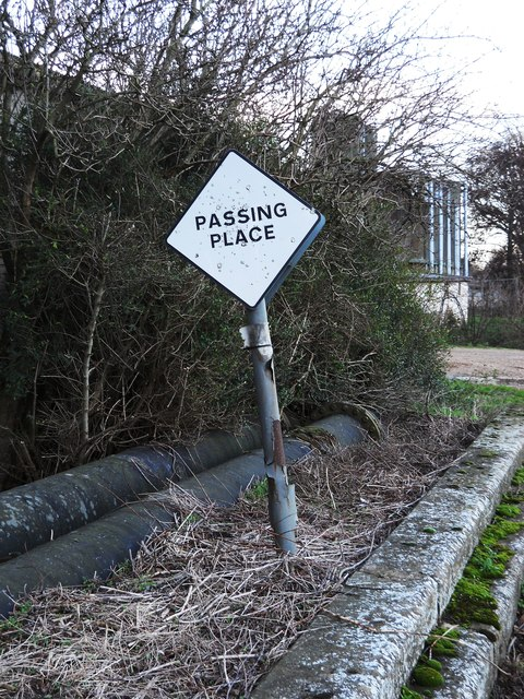 Passing place sign on Waterworks Lane, Glinton