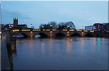 SO8454 : Worcester Bridge at dusk, Worcester by P L Chadwick