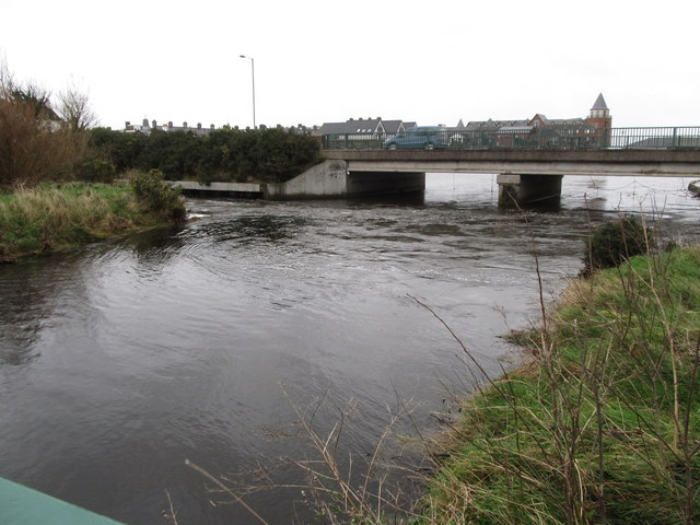 The Tullybranigan River approaching the southern section of the Shimna Road Bridge