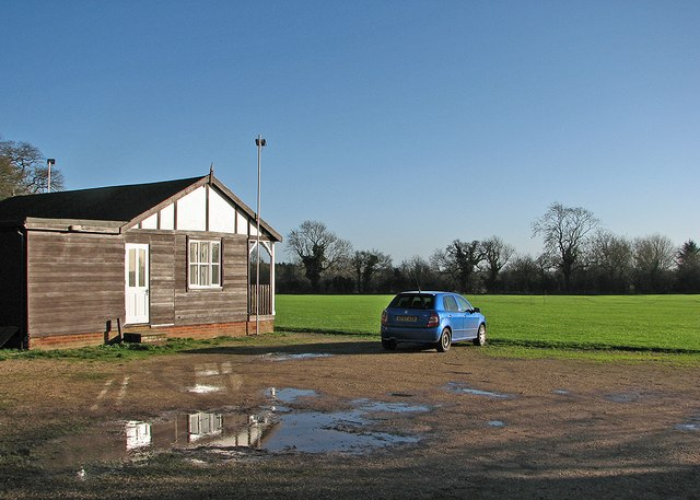 Therfield Cricket Ground in winter