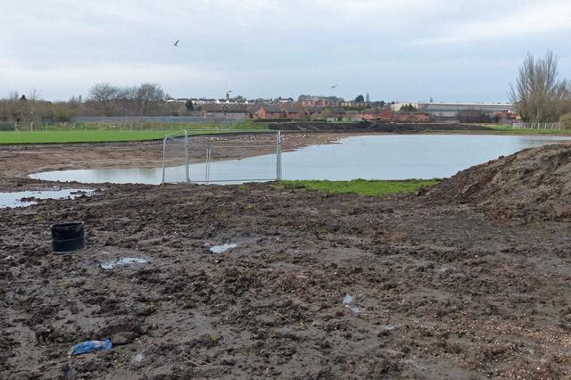 Flood alleviation work next to the River Soar