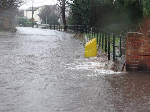 Hurleston Brook overflowing into Dyers Lane
