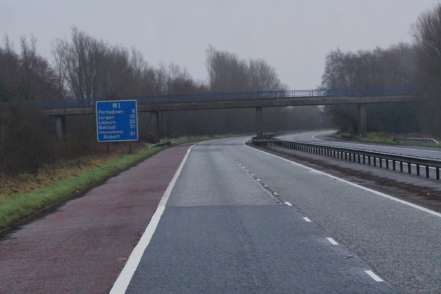 M1 eastbound at Cloncore Road Bridge