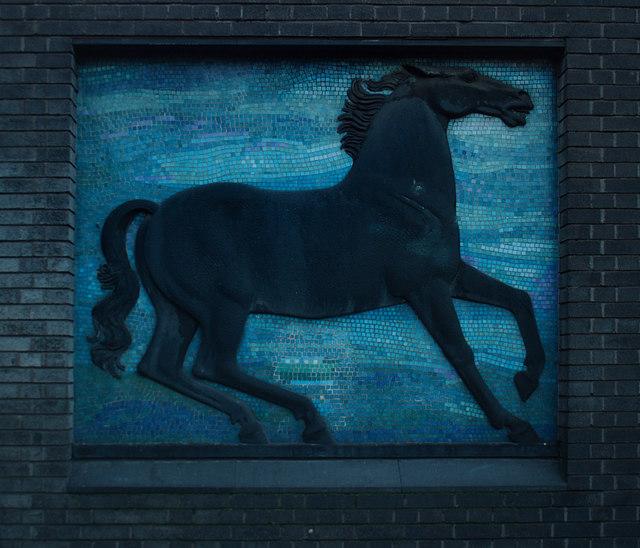 Black horse sculpture with mosaic background, Blackhorse Road Station