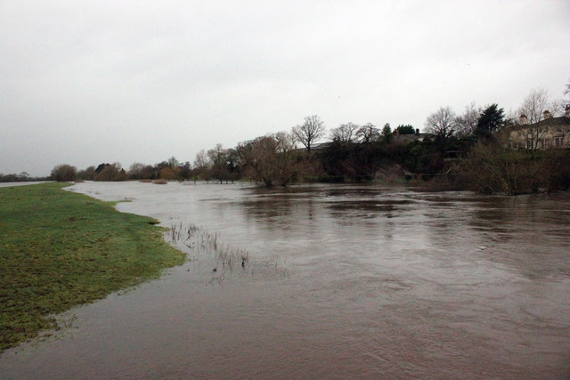 The River Dee in flood at Holt