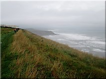 TA0983 : Cleveland  Way, Gristhorpe  Cliff  in  a  southeasterly  gale by Martin Dawes