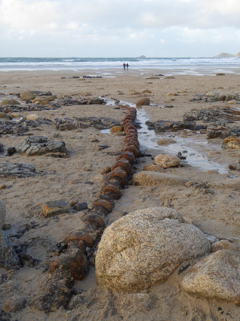 Exposed submarine cable on Sennen beach
