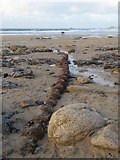 SW3526 : Exposed submarine cable on Sennen beach by Rod Allday