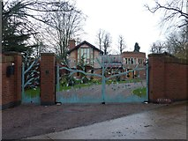 SK6464 : Ornate gates at Kestrel by Graham Hogg