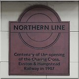 TQ2785 : Plaque in Belsize Park tube station by Mike Quinn