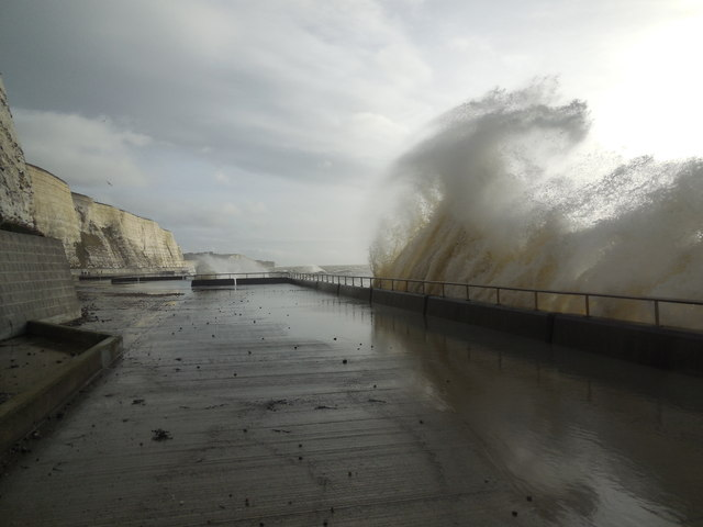 High Tide on Undercliff Walk by Paul Gillett