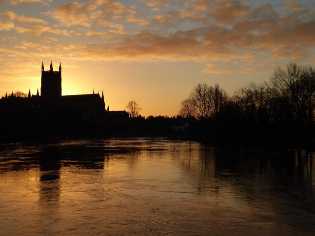 Sunrise behind Worcester Cathedral