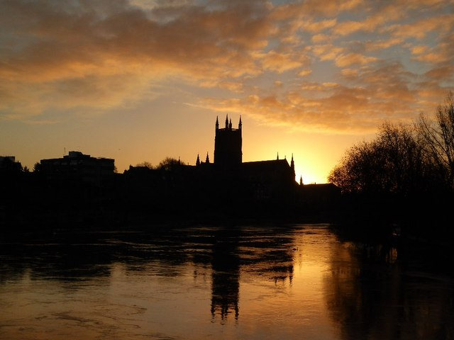Sunrise over Worcester Cathedral