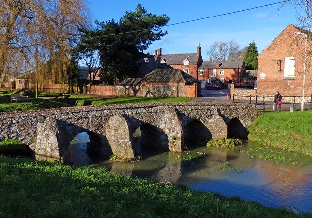 Packhorse bridge crossing Rearsby Brook