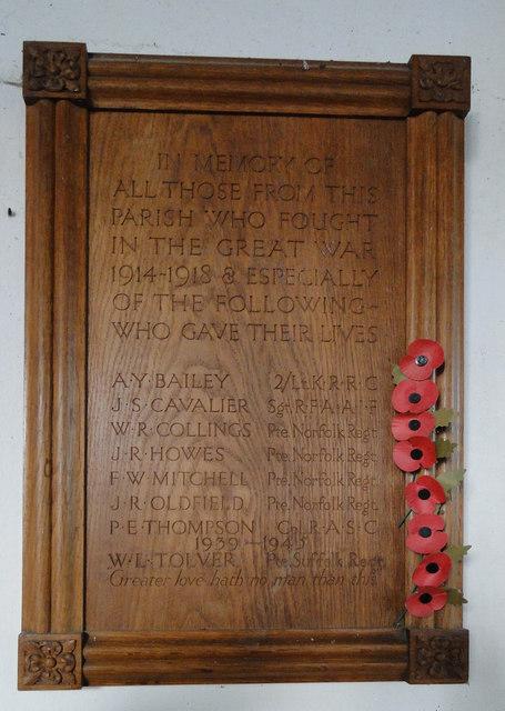 Wramplingham 'in-church' War Memorial
