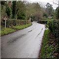 SO7542 : Warning sign - road narrows, Mathon Road, Colwall by Jaggery