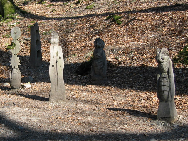 """Closer view of """"Waymarkers"""", Grizedale Forest sculpture"""