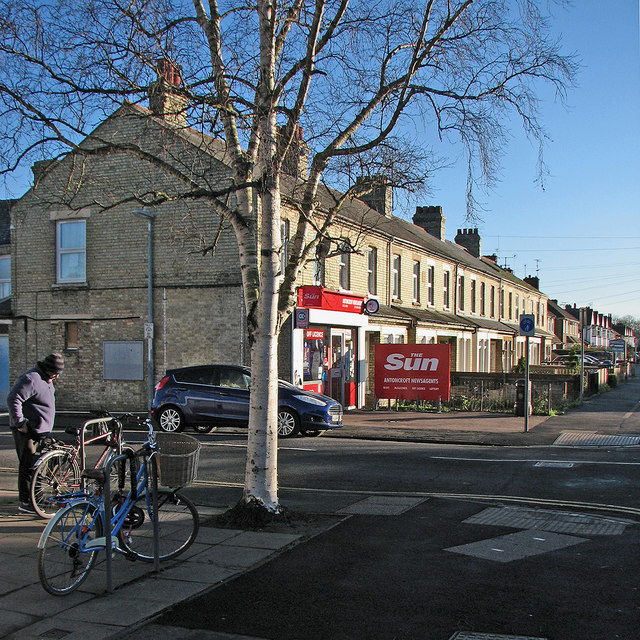Cherry Hinton Road on a bright January morning