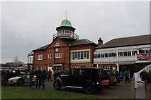 TQ0762 : Vintage cars on display at the Brooklands clubhouse by Roger Davies
