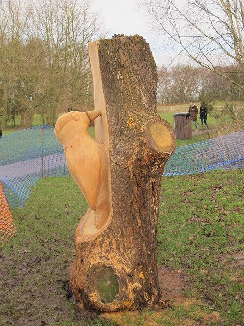 Carved woodpecker at Brereton Heath