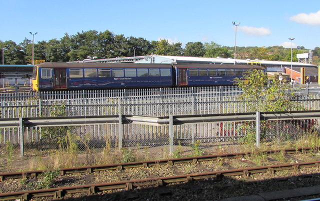 First Great Western train beyond the western edge of Exeter St Davids Station