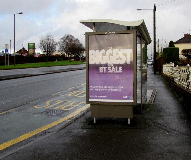 Malpas Road Newport bus shelter advert for the biggest ever BT sale