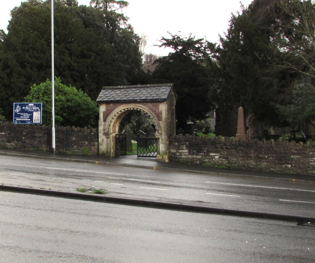 Lychgate and nameboard, St Mary's Malpas, Newport