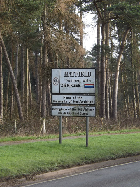 Hatfield Town Name sign on the B653 Marford Road
