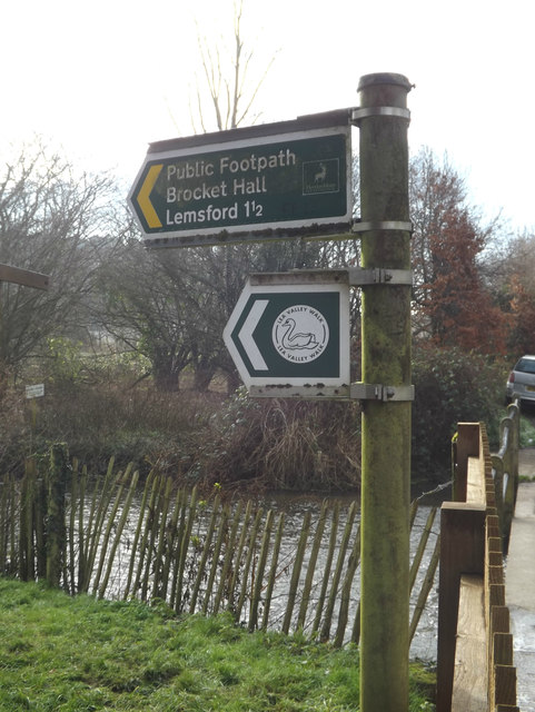 Footpath sign off Waterend Lane