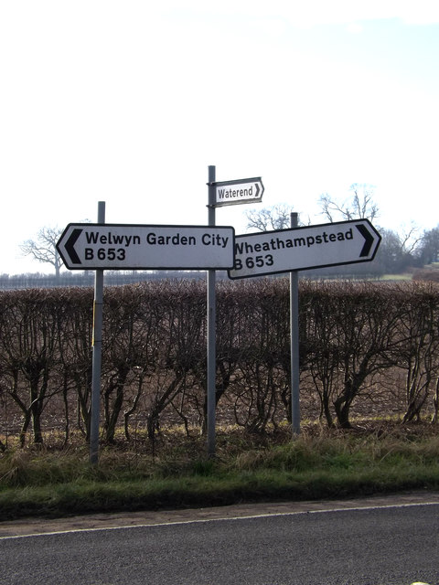 Roadsigns on the B653 Marford Road