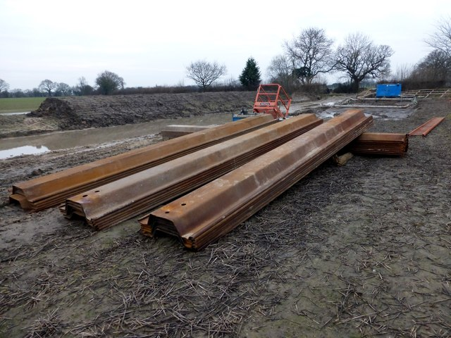 Steel piles at a sewer replacement work site