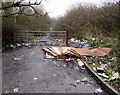 ST3487 : Rubbish and gate across Seven Stiles Avenue, Newport by Jaggery
