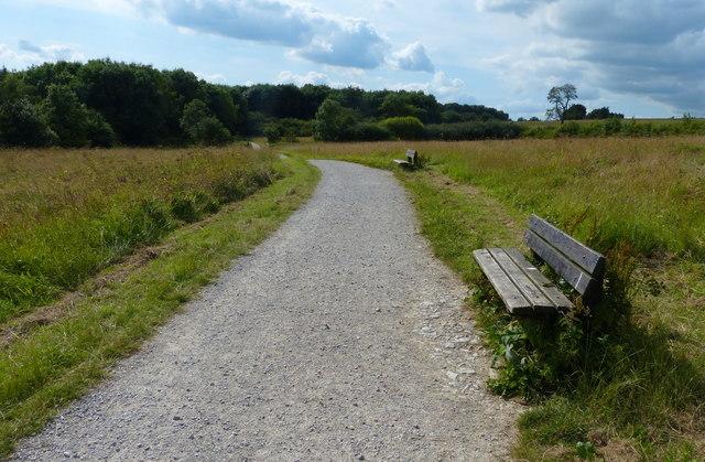 Seats along the path at Carsington Water
