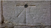 TL1998 : Ordnance Survey Benchmark and Bolt - Peterborough, St. John the Baptist's Church by N Scott
