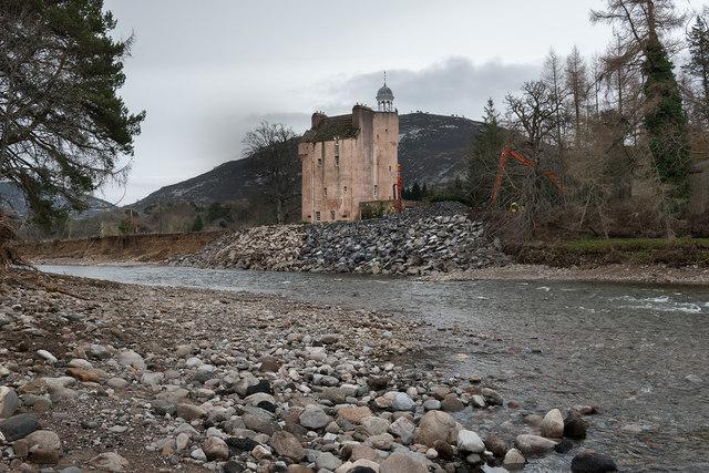 Abergeldie Castle after the flood