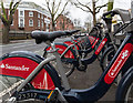 TQ3179 : Santander Cycles on Borough Road by David P Howard