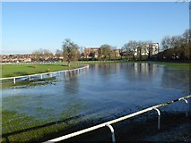 SO8455 : Frozen floodwater, Worcester Racecourse by Philip Halling